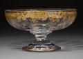 Decorative Arts, French:Other , A St. Louis Massenet Pattern Partial Gilt Crystal FootedCenter Bowl in Original Fitted Box, Saint-Louis-lès-Bit...