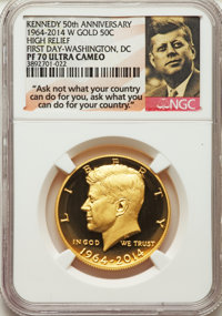 2014-W 50C Gold, 50th Anniversary, High Relief, PR70 Ultra Cameo NGC. NGC Census: (1047). PCGS Population: (241). PR70...