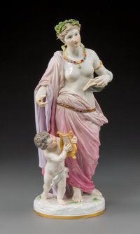 A Meissen Polychromed and Gilt Porcelain Figural Pair, modeled by Johann Christian Hirt, Meissen, Germany, late 19th-