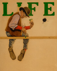 Maxfield Parrish (American, 1870-1966) A Man of Letters [The Mudball], Life Magazine cover, January 5