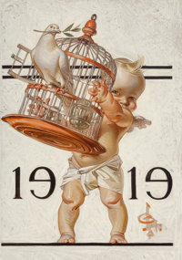 Joseph Christian Leyendecker (American, 1874-1951) New Year's Baby [1919], The Saturday Evening Post cover<