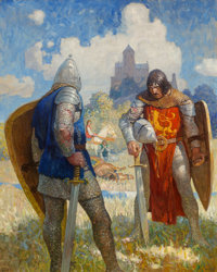 "Newell Convers Wyeth (American, 1882-1945) ""I am Sir Launcelot du Lake, King Ban's son of Benwick, and knight o"