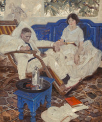 """Dean Cornwell (American, 1892-1960) """"'Gad,' said Heseltine to Peril, 'If the Doctor Can Only Keep Me Going Long"""