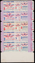 Baseball Collectibles:Tickets, 1951 World Series New York Yankees Tickets - Unused Sheet of Five. ...