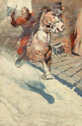 "Fine Art - Painting, American, Newell Convers Wyeth (American, 1882-1945). ""Mr. Cassidy ... Sawa crimson rider sweep down upon him ... Heralded by a bla..."