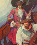 "Fine Art - Painting, American, Mead Schaeffer (American, 1898-1980). ""Stede Bonnet faced hislast fight,"" The Black Buccaneer interior book illustration..."