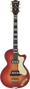 Musical Instruments:Electric Guitars, Circa 1960's Hofner Club Cherry Sunburst Semi-Hollow Body Electric Guitar, Serial # 1011....