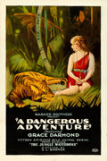 "Movie Posters:Serial, A Dangerous Adventure (Warner Brothers, 1922). Fine+ on Linen. OneSheet (27.25"" X 40.75"") Chapter 10 -- ""The Jungle Waterho..."