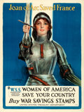 """Movie Posters:War, World War I Propaganda (United States Treasury Department, 1918). Very Fine- on Linen. Poster (30"""" X 40"""") """"Joan of Arc Saved..."""