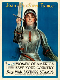 "World War I Propaganda (United States Treasury Department, 1918). Very Fine- on Linen. Poster (30"" X 40"") &quo..."
