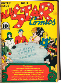 All Star Comics #1-24 Bound Volumes Formerly Belonging to Gardner Fox (DC, 1940-45).... (Total: 2 Items)