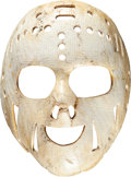 """Hockey Collectibles:Equipment, Mid-1970's Rogie Vachon Game Worn Los Angeles Kings """"Smiley"""" Goalie Mask...."""