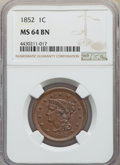 Large Cents: , 1852 1C MS64 Brown NGC. NGC Census: (167/167). PCGS Population: (223/153). MS64. Mintage 5,063,094. ...
