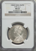 India:British India, India: British India. Victoria 9-Piece Lot of Certified Rupees 1884-1888 NGC,... (Total: 9 coins)