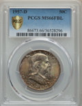 Franklin Half Dollars, 1957-D 50C MS66 Full Bell Lines PCGS Gold Shield. PCGS Population: (458/23). NGC Census: (178/8). MS66....
