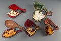 Carvings, Five Carved Meerschaum Figural Pipes with Cases, late 19th century . 3-1/2 x 7-1/4 x 2-1/4 inches (8.9 x 18.4 x 5.7 cm) (lar... (Total: 5 Items)