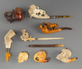 Carvings, Eight Carved Meerschaum Figural Pipes, late 19th century . 2 x 6-1/2 x 1-1/4 inches (5.1 x 16.5 x 3.2 cm) (longest). ... (Total: 8 Items)