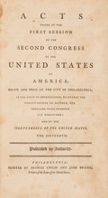 Books:Americana & American History, [United State Congress]. [Bill of Rights]. Acts Passed at theFirst Session of the Second Congress... Philadelphia: ...