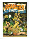 Golden Age (1938-1955):War, Rangers Comics #10 (Fiction House, 1943) Condition: VG. Piecesmissing from margins of first 2 pages, art is unaffected. Ove...