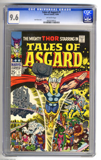 Tales of Asgard #1 (Marvel, 1968) CGC NM+ 9.6 Off-white pages. Jack Kirby cover and art. Reprints the backup features fr...