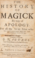 Books:World History, [Magic]. G. Naudaeus [Gabriel Naudé]. The History of Magick Byway of Apology, For all the Wise Men who have unjus...