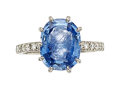 Estate Jewelry:Rings, Sapphire Intaglio, Diamond, Platinum Ring, Carvin French . ...