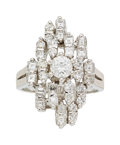Estate Jewelry:Rings, Diamond, White Gold Ring The cluster ring feat...