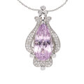 Estate Jewelry:Pendants and Lockets, Kunzite, Diamond, White Gold Pendant-Necklace. ...