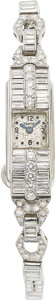 Estate Jewelry:Watches, Art Deco LeCoultre Lady's Diamond, Platinum Cal. 403 Watch. ...