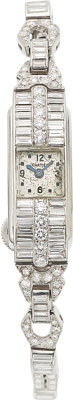 Art Deco LeCoultre Lady's Diamond, Platinum Cal. 403 Watch