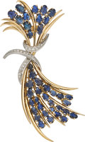 Estate Jewelry:Brooches - Pins, Sapphire, Diamond, Platinum, Gold Clip-Brooch, French. ...