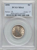 Liberty Nickels: , 1898 5C MS64 PCGS. PCGS Population: (228/144). NGC Census: (150/100). CDN: $300 Whsle. Bid for problem-free NGC/PCGS MS64. ...