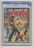 """Bronze Age (1970-1979):Horror, The Haunt of Horror #3 (Curtis, 1974) CGC NM 9.4 White pages.Second appearance of Gabriel, Devil-Hunter. """"Exorcist"""" intervi..."""