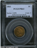 """Proof Indian Cents: , 1861 1C PR 63 PCGS. The current Coin Dealer Newsletter (Greysheet) wholesale """"bid"""" price is $805.00...."""