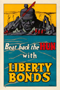 "Movie Posters:War, World War I Propaganda (U.S. Government Printing Office, 1918). Very Fine on Linen. Liberty Bonds Poster (20"" X 29.75"") ""Bea..."