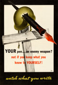 "Movie Posters:War, World War II Propaganda (U.S. Government Printing Office, 1943). Very Fine- on Linen. Poster (18.75"" X 37"") ""Watch What You ..."