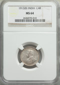 India:British India, India: British India. George V 3-Piece Lot of Certified 1/4 Rupees NGC, ... (Total: 3 coins)