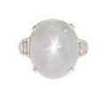 Estate Jewelry:Rings, Art Deco Star Sapphire, Diamond, Platinum Ring. ...