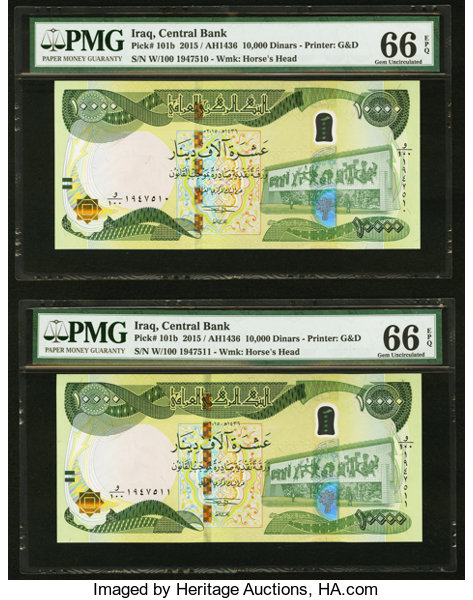 World Currency Iraq Central Bank Of 10 000 Dinars 2017 Pick 101b Twoconsecutive Examples Pmg