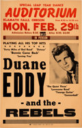 Music Memorabilia:Posters, Duane Eddy and the Rebels Auditorium Concert Poster (1960). Extremely Rare....