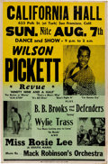 Music Memorabilia:Posters, Wilson Pickett California Hall Concert Poster (1966). Very Rare....