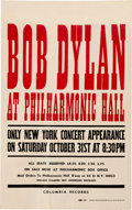 Music Memorabilia:Posters, Bob Dylan Philharmonic Hall Concert Poster (1964). Very Rare....