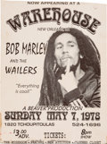 Music Memorabilia:Posters, Bob Marley and the Wailers at Warehouse Concert Poster (1978). Rare....