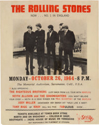 The Rolling Stones/Righteous Brothers Memorial Auditorium Concert Handbill (1964). Very Rare