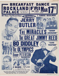 Music Memorabilia:Memorabilia, Jerry Butler/Miracles/Bo Diddley/Jimmy Reed Rockland Palace Concert Handbill (1961)....