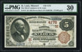 National Bank Notes:Missouri, Saint Louis, MO - $5 1882 Brown Back Fr. 474 The NB of Commerce Ch.# (M)4178 PMG Very Fine 30.. ...