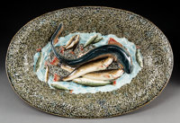A Large French Palissy Ware Platter, late 19th-early 20th century Marks: 976CT, C, 1 4-1/2 x 24-1/2