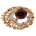 Estate Jewelry:Brooches - Pins, Garnet, Diamond, Gold Brooch. ...