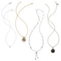 Estate Jewelry:Necklaces, Diamond, Multi-Stone, Gold, Sterling Silver Pendant-Necklaces. ... (Total: 4 Items)