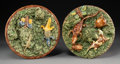 Ceramics & Porcelain, Two Manuel Mafra Palissy Ware Plates, Caldas da Rainha, Portugal, late 19th century. Marks: (crown), M. MAFRA, CALDAS, POR... (Total: 2 Items)